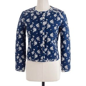 J. Crew Indigo Blue Floral Quilted Jacket Size 2